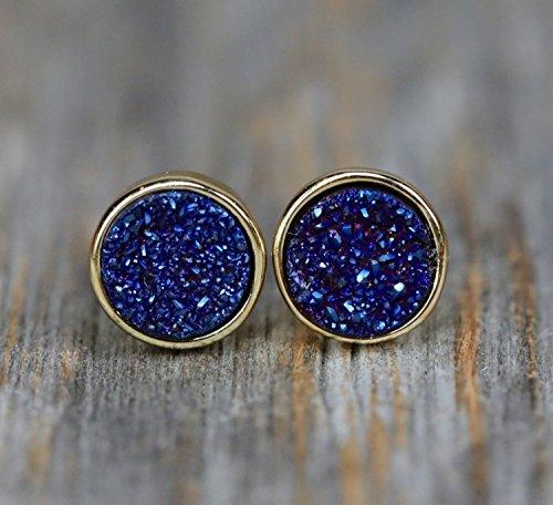 Dark Blue Druzy Stud Earring Genuine druzy quartz gemstone navy (Blue Quartz Earrings)