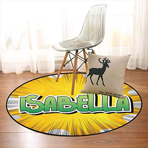 (Isabella Multifunctional Round Carpet American Birth Name on Retro Style Fun Cartoon Backdrop Poster Design for Bedroom Modern Home Decor D59 Inch Yellow Green and White)