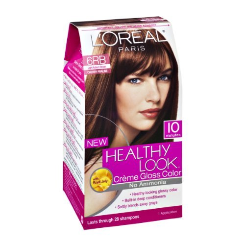 L'Oreal Paris Healthy Look Cherry Praline 6RB Light Auburn Brown Creme Gloss Color - High Gloss Praline