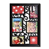 Adeco 6 Opening Decorative Black Filigree Wall Hanging Picture Frame - Made to Display Three 4x6, One 4x4, One 5x7, and One 5.5x5.5 Photo