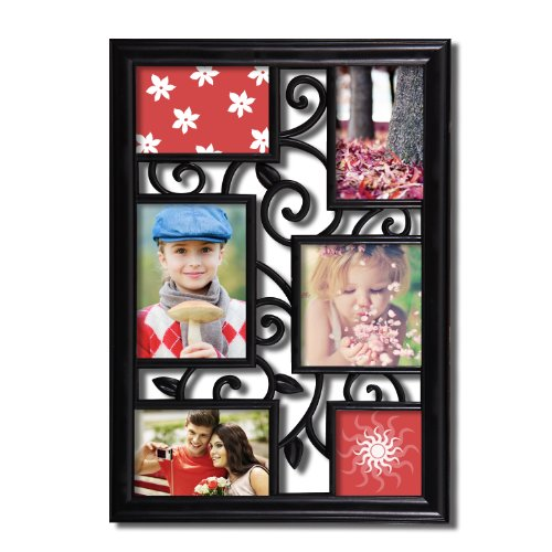 Adeco 6-Opening Multi Sizes Black Plastic Wall Collage Pictu