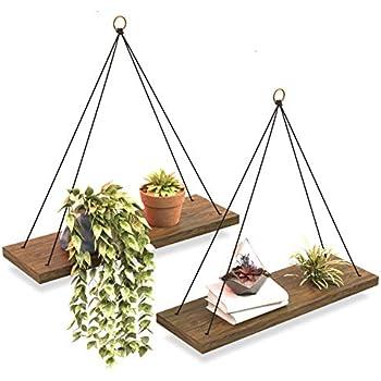 Boho Wall Hanging Shelf - Set of 2 Wood Hanging Shelves for Wall - Floating Shelves for Bedroom Living Room Bathroom - Rope Rustic Wood Shelves - Hanging Plant Shelf - Triangle Farmhouse Wood Shelves...
