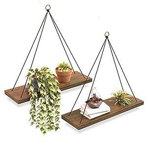 OMYSA Hanging Shelves for Wall & Window Plant Shelf Indoor – Floating Wall Shelves for Bedroom Bathroom Living Room…