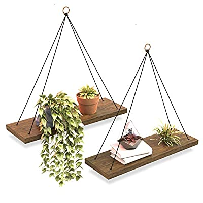 Boho Wall Hanging Shelf - Set of 2 Wood Hanging Shelves for Wall - Floating Shelves for Bedroom Living Room Bathroom - Rope Rustic Wood Shelves - Hanging Plant Shelf - Triangle Farmhouse Wood Shelves - ✔ UNIQUE - Our hanging wall shelves is just what you need if you're looking for that perfect touch of minimalist decor. ✔ TRENDY - Add a fun statement to your space that will have you and your friends swooning with this cute, modern and rustic touch! ✔ PREMIUM - Our brand Omysa, believes in only creating high quality and affordable products that you will love and keep forever. And our floating shelf is no exception. - wall-shelves, living-room-furniture, living-room - 51wt8jeLyML. SS400  -