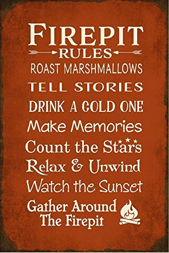 NIUMEA Custom Personalized Firepit Rules Aluminum Quality Metal Signs 12 X 18 Inch Large