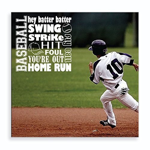Baseball Hey Batter Batter Swing Strike Hit Foul You're Out Home Run Fly Ball as Boy Playing Baseball Aluminum Metal Photo Print Wall Art - - Hit Home Photo Run