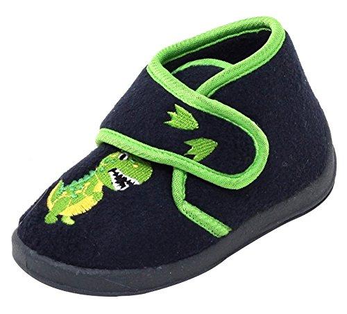 Jungen Fleece Klett Hausschuhe schwarz grün