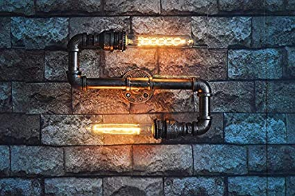 BRIGHTER Vintage E27 Edison Ferro Steampunk Lampada da Parete Retro Lampada a Muro di Metallo Tubi di Acqua Applique da Parete 2 luci, lampadina non inclusa