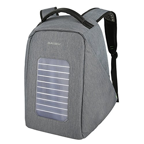 Solar Powered Charger Backpack,Polyester Waterproof Outdoor Travel Camping Rucksack Anti-theft 16'' Business Laptop Backpack (Grey) by BAIBU (Image #7)
