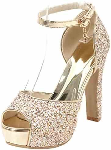 380700901a98 Mofri Women s Sequined Ankle Strap Sandals - Buckle Peep Toe Platform -  Chunky High Heels Bridal