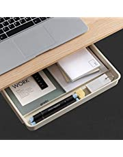 AirTaxiing Under Desk Drawer - Large Under Table Hidden Drawer Desktop Storage Pen Pencil Slide Out Pull Out Organizer Adhesive Storage Stick on Shelf at Home School Office Paste Tray…