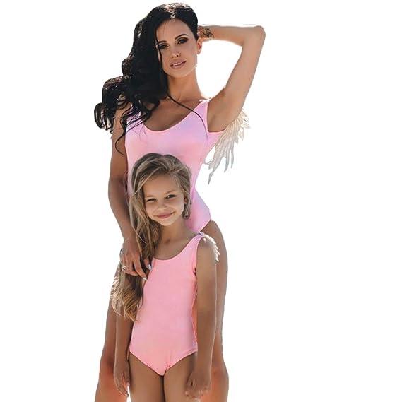 Bikini di Famiglia Mamma Ragazze Halterneck Costume da Bagno Mamma e io Swimsuit Beachwear,Green/Women,L Abbigliamento sportivo Bambine e ragazze