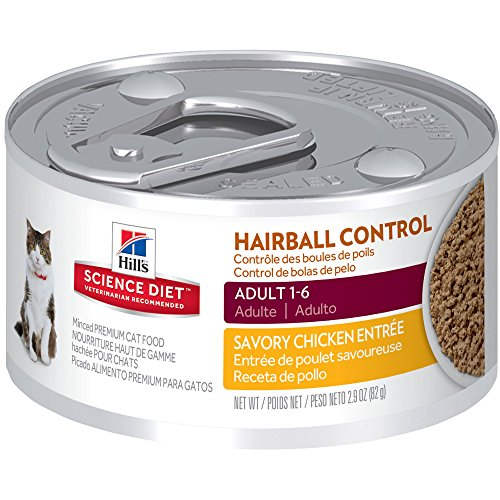 Hill's Science Diet Adult Hairball Control Wet Cat Food, Savory Chicken Entrée Canned Cat Food, 2.9 oz, 24 (Control Formula Canned Food)