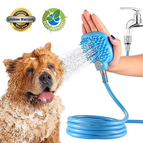 Dog Shower Sprayer Wand Washer Combination Sprayer and Scrubber, Indoor / Outdoor Use, Pet Shower Sprayer for Bathtub Dog Combines Bath, Shampoo, Massage with 7.5 Foot Hose and 2 Hose Adapters