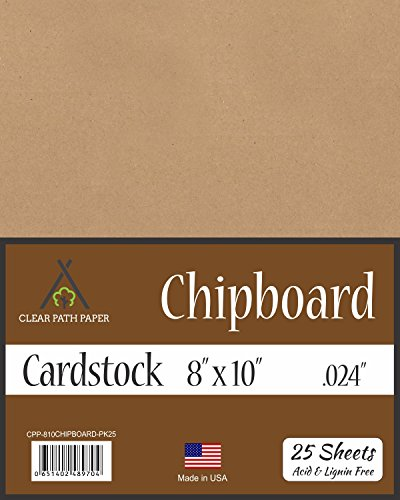 Chipboard - 8 x 10 inch - .024'' Thick - 25 Sheets by Clear Path Paper