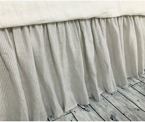 Ticking Queen Dust Ruffle (Stone gray ticking stripe bed skirt, Ticking stripe dust ruffle, Country bed skirts, HANDMADE, FREE SHIPPING)
