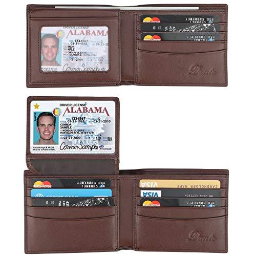 Dante RFID Blocking Cowhide Leather Bifold Wallet for Men with 2 ID Windows(2 ID Window Coffee) - Mens Leather Billfold Wallet