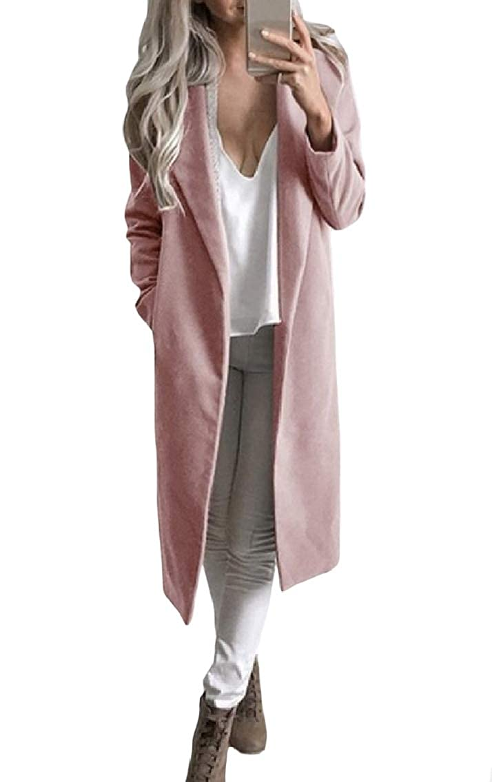 Godeyes Womens Thick Lapel Solid Slim Mid-Long Pockets Woolen Overcoat