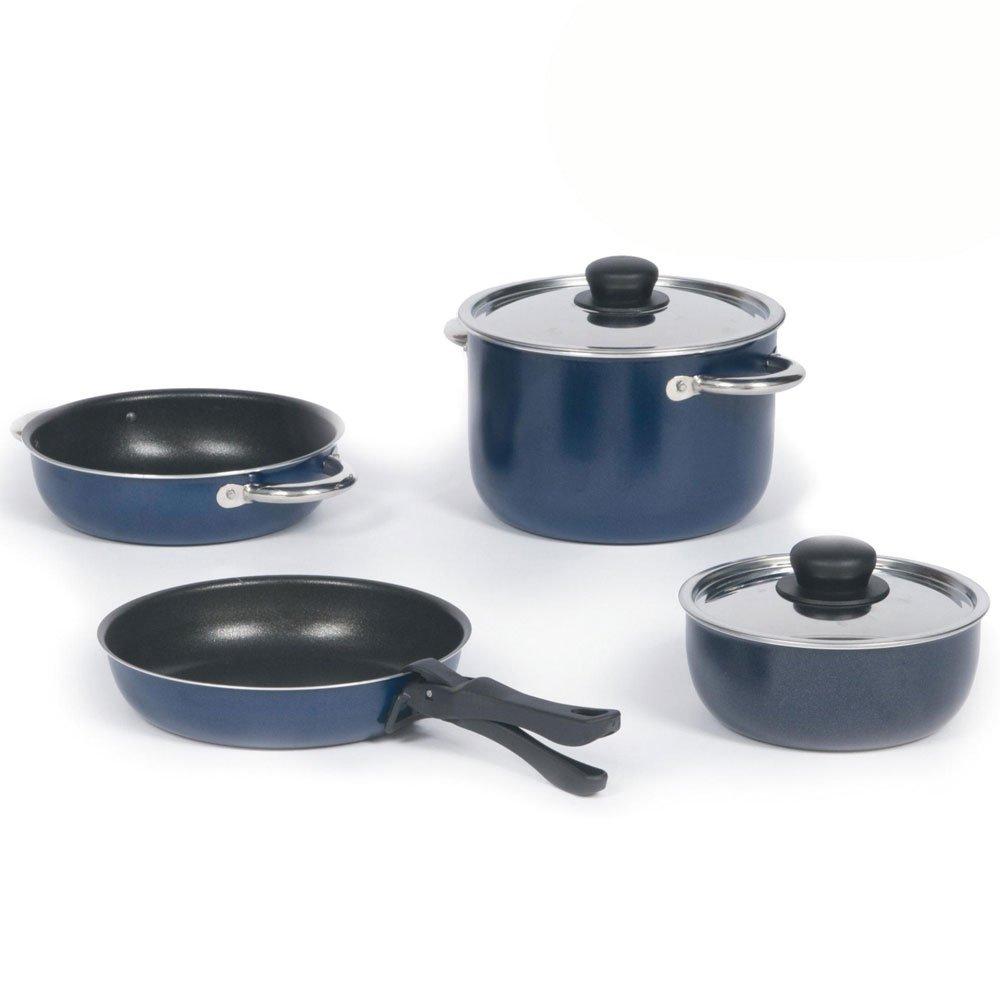 7 teilig Alu utensilios para 3 personas de mango desmontable, antiadherente, 3.5 L - batería de cocina para Camping 3.5 L olla de ollas de aluminio juego de ...