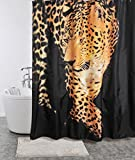 Magic Vida Decorative Flowers Shower Curtain Nature Series with Vivid Color Brighten Bathroom (72-Inch by 72-Inch, Leopard)