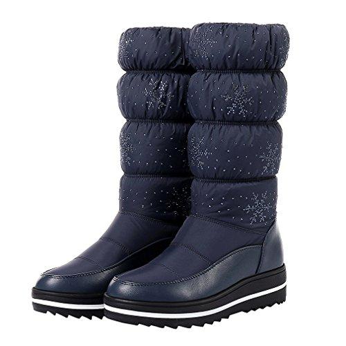 ENMAYER Frauen PU mit unten Material runde Zehe Plattform Strass Winter Warm Schnee Stiefel Blau