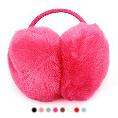AStorePlus Women Faux Fur Big Earmuffs Winter Warm Thick Plush Fluffy Ear Muffs Behind the Head Design Ear Warmers, Ear Cover Muffs Headband