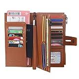 Rfid Blocking Travel Wallet Leather Passport Holder Family Travel Document Organizer (Brown)