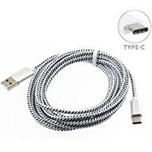 White Durable Braided 10ft Long Type-C Cable Rapid Charge USB Wire Sync USB-C Power Data Cord for Straight Talk ZTE Max Duo LTE - T-Mobile Alcatel Idol 4S - T-Mobile HTC 10 - T-Mobile LG G5