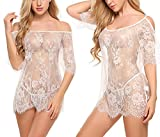 Oheetu Women Chemises Lace Smock Lingerie Mini Babydoll Mesh Cover Up White Large