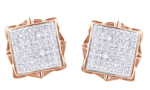 Round Cut White Real Diamond Hip Hop Cluster Stud Earrings 14K Solid Rose Gold (0.50 Cttw) by Wishrocks