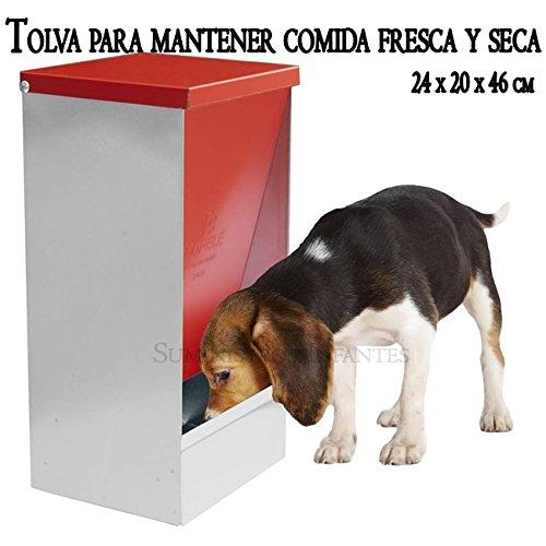 TOLVA COMEDERO para almacenar comida FRESCA y SECA. 24 x 20 x 46 cm. Diseñada para perros, gatos y otras mascotas. Permite almacenar y dispensar desde su ...