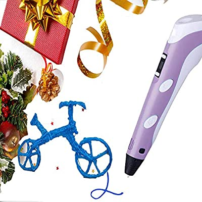 3D Pen for Kids Purple, 3D Printer Pen 1.75mm PLA with 13m (512inch) ABS Filament 3D Printing Drawing Pen with Low-Temperature, Creative 3D Pen for Kids Adults Arts Crafts Model DIY, Non-Clogging