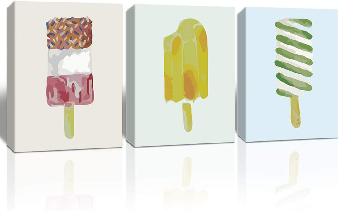 A Cup of Tea Foods Canvas Prints Wall Art summer Ice Cream Pictures watercolor abstract Paintings Artworks decoration for home kitchen dinning room restaurant hotel framed wall decor 12x16 inch 3 Pcs
