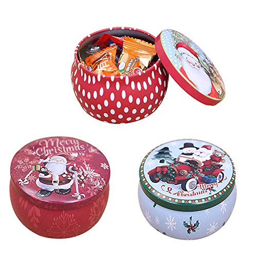 FineInno 3 Packs Christmas Tinplate Tins Jar Round Candy Box Sweetie Case Storage Can Cups for DIY Candle Tea,Coffee,Jewelry,Party Favors,and Gifts (3 pcs candy box)