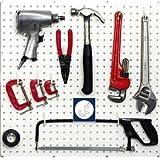 WallPeg White Pegboard Hooks - Flex-Lock J Style for Pegboard Tool Storage, 100-pk