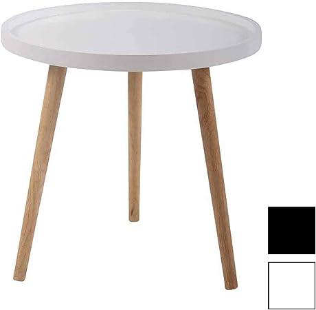 CLP Tavolino da Appoggio Stile Scandinavo Hillerod Tavolino Tondo Soggiorno in MDF e Legno di caucci/ù 3 Gambe Tavolino Design Salotto Rotondo Bianco