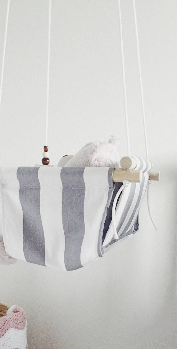 Grey and White Striped Fabric baby Swing