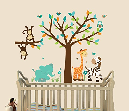 (Wild About Teal, Jungle Wall Decals, Jungle Stickers, Fabric Tree Decal, Kids Room )