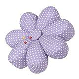 Neoviva Fabric Coated Fully Padded Daisy Shaped Pin Cushion with 7 Petals, Polka Dots Bright Purple
