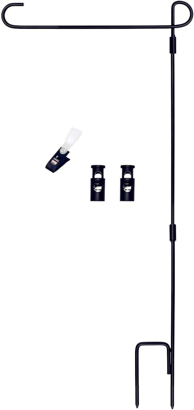 AUOIKK Garden Flag Stand Scrolled 3 Piece Construction with Premium Anti Wind Clip, Easy to Install Garden Stand Pole Holder for Yard Lawn Outdoor Decoration 16.5 x 36 Inch