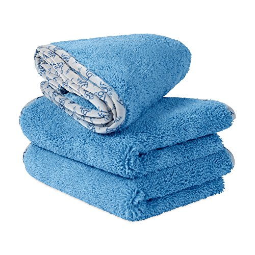 Buff Detail Premium Automotive Microfiber Towels | Ultra Soft Auto Detailing Cloths | Buff, Wax, Polish, Dry, Wash | Streak-Free & Scratch-Free | Plush 550 GSM | 16″ x 24″, 3 Pack (Blue)…