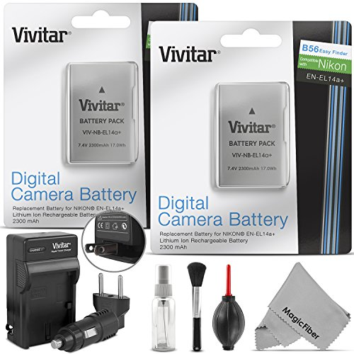 - (2 Pack) EN-EL14 / EN-EL14a Battery and Charger Kit for NIKON DSLR D5300 D5200 D5100 D3300 D3200 D3100, COOLPIX P7800 P7700 P7100 P7000, Nikon DF Cameras - Includes: 2 Vivitar Ultra High Capacity Rechargeable 2300mAh Li-ion Batteries + AC/DC Vivitar Rapid Travel Charger + Cleaning Kit + MagicFiber Microfiber Lens Cleaning Cloth