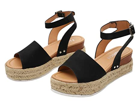 c37e1df1e5 Open Toe Sandals for Women in Black with Strap Plus Size Fashion Stylish  Leather Size 42
