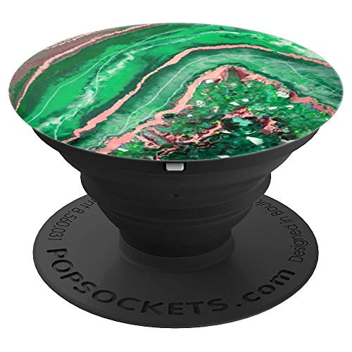 Emerald Green Stone, Gold, Banded Agate, Rose Copper, Quartz - PopSockets Grip and Stand for Phones and Tablets ()
