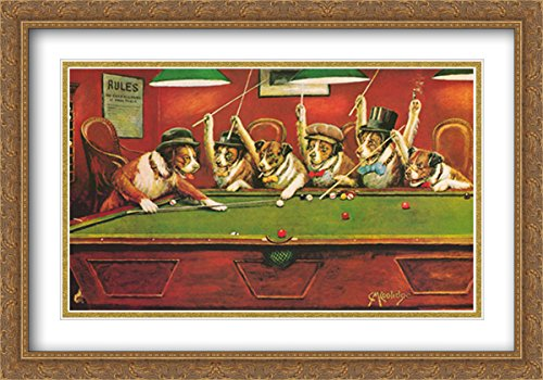 Dogs Playing Pool 2x Matted 40x28 Large Gold Ornate Framed Art Print by Cassius Marcellus (Coolidge Dogs Playing Pool)