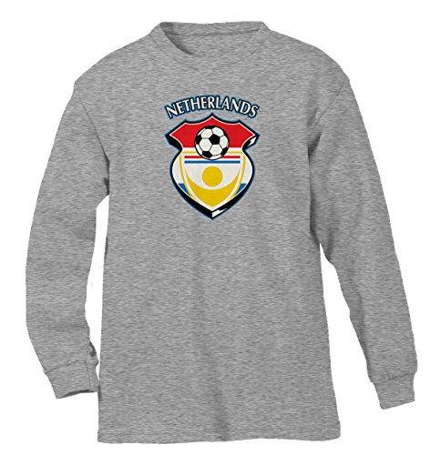Netherlands Country Soccer Shield Men's Long Sleeve Shirt, SpiritForged Apparel, Light Gray (Limburg Light)