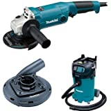 Makita GA5020 5 Inch SJS Angle Grinder, 195236 5 Surface Grinding Shroud, VC4710 12 Gallon Xtract Vac Wet/Dry Dust Extractor/Vacuum
