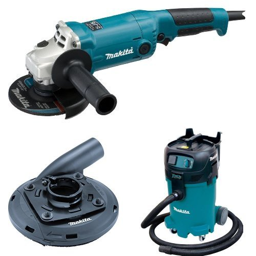 Makita GA5020 5-Inch Angle Grinder with Super Joint System  with Makita 195236-5 4-1/2-Inch - 5-Inch Dust Shroud  with Makita VC4710 12-Gallon Wet/Dry Vacuum