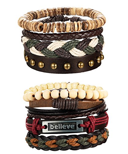 LOYALLOOK 8-16pcs Mens Leather Bracelet Wrap Cuff Bracelets with Hemp Cords Wood Beads Ethnic Tribal Believe Charm