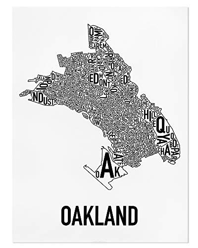 Oakland Typographic Neighborhoods Map Wall Art Poster, Black & White, 18